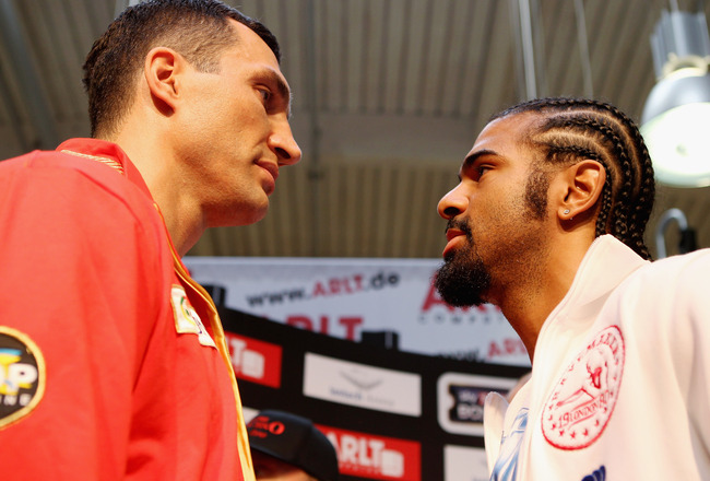 HAMBURG, GERMANY - JUNE 27:  Wladimir Klitschko (L) and David Haye attend a press conference on June 27, 2011 in Hamburg, Germany to preview the heavy weight title fight between them which will be held on the 2nd July 2011 at the Imtech Arena.  (Photo by