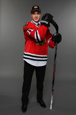 ST PAUL, MN - JUNE 24:  18th overall pick Mark McNeill by the Chicago Blackhawks poses for a photo portrait during day one of the 2011 NHL Entry Draft at Xcel Energy Center on June 24, 2011 in St Paul, Minnesota.  (Photo by Nick Laham/Getty Images)