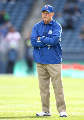 SEATTLE - NOVEMBER 07:  Head coach Tom Coughlin of the New York Giants looks on during warmups prior to the game against the Seattle Seahawks at Qwest Field on November 7, 2010 in Seattle, Washington. The Giants defeated the Seahawks 41-7. (Photo by Otto