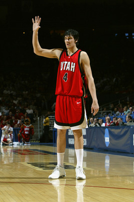 TUCSON, AZ - MARCH 19:  Andrew Bogut #4 of the University of Utah Utes is on the court against the University of Oklahoma Sooners during the second round of the NCAA Men's Basketball Championship on March 19, 2005 in McKale Center Arizona, Tucson. The Ute