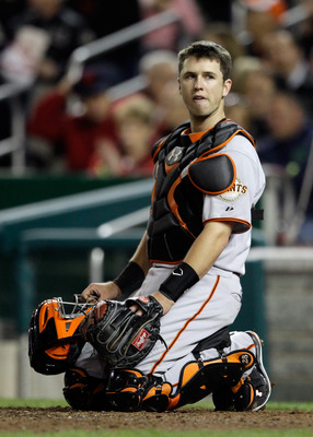 WASHINGTON, DC - APRIL 29:  Catcher Buster Posey #28 of the San Francisco Giants in action against the Washington Nationals at Nationals Park on April 29, 2011 in Washington, DC.  (Photo by Rob Carr/Getty Images)