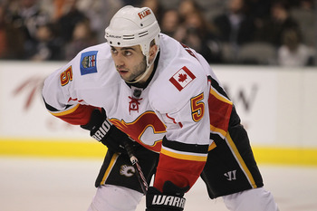 DALLAS, TX - DECEMBER 23:  Defenseman Mark Giordano #5 of the Calgary Flames at American Airlines Center on December 23, 2010 in Dallas, Texas.  (Photo by Ronald Martinez/Getty Images)