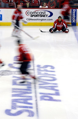 WASHINGTON, DC - MAY 01:  Alex Ovechkin #8 of the Washington Capitals warms up before Game Two of the Eastern Conference Semifinal during the 2011 NHL Stanley Cup Playoffs against the Tampa Bay Lightning at the Verizon Center on May 1, 2011 in Washington,