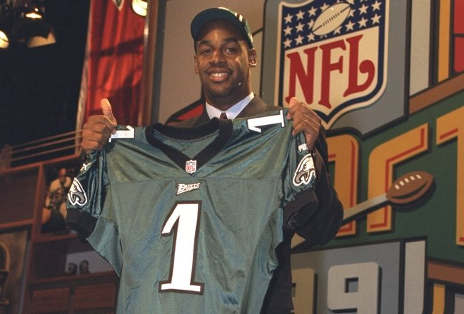 17 Apr 1999: Number two draft pick Donovan McNabb holds his new Philadelphia Eagles jersey during the NFL Draft at the Madison Square Garden in New York, New York.