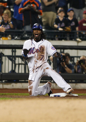 NEW YORK, NY - JUNE 22:  Jose Reyes #7 of the New York Mets celebrates after hitting a triple in the eight inning against the Oakland Athletics on June 22, 2011 at Citi Field in the Flushing neighborhood of the Queens borough of New York City.  (Photo by