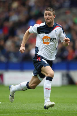 BOLTON, ENGLAND - MAY 22:  Gary Cahill of Bolton Wanderers in action during the Barclays Premier League match between  Bolton Wanderers and Manchester City at the Reebok Stadium on May 22, 2011 in Bolton, England.  (Photo by Michael Steele/Getty Images)