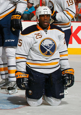 PHILADELPHIA, PA - APRIL 16:  Mike Grier #25 of the Buffalo Sabres looks up to an official asking for a penalty that was not called against the Philadelphia Flyers in Game Two of the Eastern Conference Quarterfinals during the 2011 NHL Stanley Cup Playoff