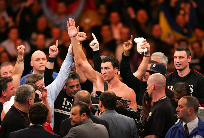 NEW YORK - FEBRUARY 23:  Wladimir Klitschko of the Ukraine celebrates his 12 round unanimous decison victory over Sultan Ibragimov of Russia during their WBO and IBF/IBO Unification Heavyweight World Championship bout on February 23, 2008 at Madison Squar