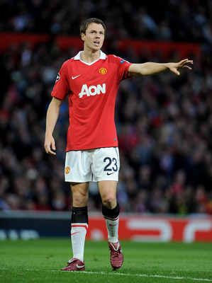 MANCHESTER, ENGLAND - MAY 04:  Jonny Evans of Manchester United gestures during the UEFA Champions League Semi Final second leg match between Manchester United and Schalke at Old Trafford on May 4, 2011 in Manchester, England.  (Photo by Michael Regan/Get