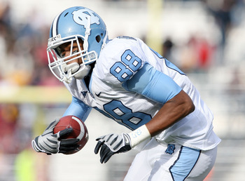 CHESTNUT HILL, MA - NOVEMBER 21: Erik Highsmith #88 of the North Carolina Tar Heels carries the ball in the first half against the Boston College Eagles on November 21, 2009 at Alumni Stadium in Chestnut Hill, Massachusetts.  (Photo by Elsa/Getty Images)