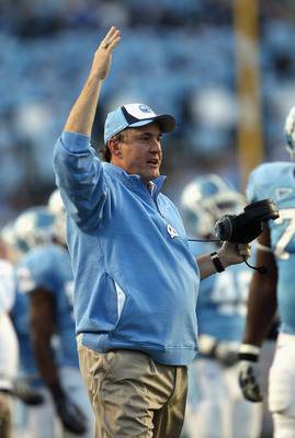 CHAPEL HILL, NC - NOVEMBER 13:  Head coach Butch Davis of the North Carolina Tar Heels reacts to a play against the Virginia Tech Hokies during their game at Kenan Stadium on November 13, 2010 in Chapel Hill, North Carolina.  (Photo by Streeter Lecka/Gett