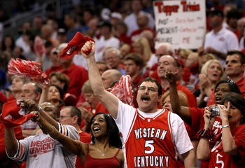 PHOENIX - MARCH 27:  Western Kentucky Hilltoppers fans cheer on their team during the West Regional Sweet 16 game against the UCLA Bruins at the U.S. Airways Center on March 27, 2008 in Phoenix, Arizona.  (Photo by Stephen Dunn/Getty Images)