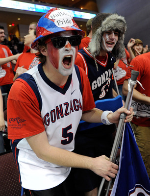 LAS VEGAS, NV - MARCH 07:  Gonzaga Bulldogs fans Tanner Sagouspe (L) and Sean Newton chant before the championship game of the Zappos.com West Coast Conference Basketball tournament against the Saint Mary's Gaels at the Orleans Arena March 7, 2011 in Las