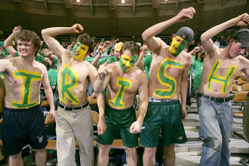 SOUTH BEND, IN - FEBRUARY 8:  Fans of the Notre Dame Fighting Irish cheer during a game against the Boston College Eagles on February 8, 2005 at the Joyce Center at the University of Notre Dame in South Bend, Indiana. Notre Dame defeated Boston College 68