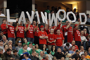 DENVER, CO - MARCH 17:  Fans of the St. John's Red Storm hold up letters spelling out 'Lavinwood' as they take on the Gonzaga Bulldogs during the second round of the 2011 NCAA men's basketball tournament at Pepsi Center on March 17, 2011 in Denver, Colora