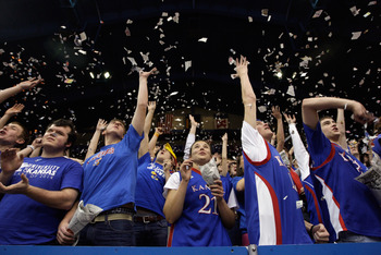 LAWRENCE, KS - DECEMBER 29:  Kansas Jayhawks fans cheer during player introductions prior to the satrt of the game against the University of Texas Arlington Mavericks on December 29, 2010 at Allen Fieldhouse in Lawrence, Kansas.  (Photo by Jamie Squire/Ge