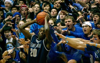 DURHAM, NC - JANUARY 17:  Fans of the Duke Blue Devils try to distract Jason Clark #20 of the Georgetown Hoyas during an in-bound play during the game on January 17, 2009 at Cameron Indoor Stadium in Durham, North Carolina.  The Blue Devils defeated the H