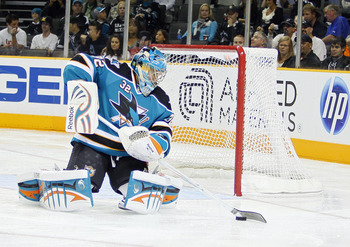 SAN JOSE, CA - SEPTEMBER 25:  Goalie Alex Stalock #32 of the San Jose Sharks stops the puck against the Phoenix Coyotes in a preseason split-squad game at HP Pavilion on September 25, 2010 in San Jose, California.  The Sharks won 3-1.  (Photo by Brian Bah