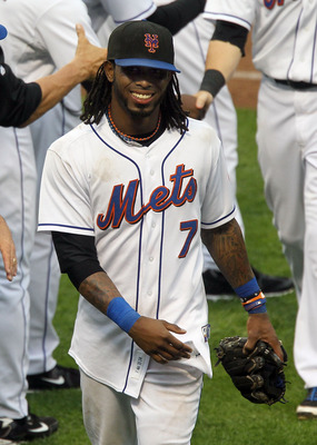 NEW YORK, NY - JUNE 23:  Jose Reyes #7 of the New York Mets celebrates after defeating the Oakland Athletics at Citi Field on June 23, 2011 in the Flushing neighborhood of the Queens borough of New York City.  (Photo by Jim McIsaac/Getty Images)