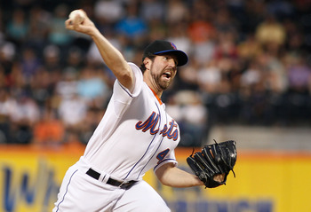 NEW YORK, NY - JUNE 22:  R.A. Dickey #43 of the New York Mets delivers a pitch against the Oakland Athletics in the first inning on June 22, 2011 at Citi Field in the Flushing neighborhood of the Queens borough of New York City.  (Photo by Mike Stobe/Gett