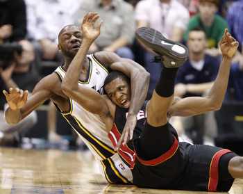 SALT LAKE CITY, UT - DECEMBER 8:  Francisco Elson #16 of the Utah Jazz and James Jones #22 of the Miami Heat during the second half of an NBA game December 8, 2010 at Energy Solutions Arena in Salt Lake City, Utah. The Heat beat the Jazz 111-98. NOTE TO U