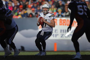 DENVER - JANUARY 02:  Quarterback Philip Rivers #17 of the San Diego Chargers looks to deliver a pass against the Denver Broncos at INVESCO Field at Mile High on January 2, 2011 in Denver, Colorado. The Chargers defeated the Broncos 33-28.  (Photo by Doug