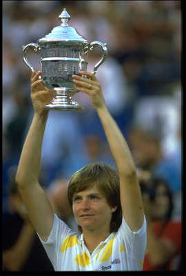 SEP 1985:  HANA MANDLIKOVA OF CZECHOSLOVAKIA HOLDS ALOFT THE US OPEN LADIES SINGLES TROPHY AFTER WINNING AT FLUSHING MEADOWS.
