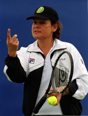 11 Jun 2000:  Evonne Goolagong Cawley in action at the 'Evonne Goolagong Cawley Getting Started Program' at the New South Wales Tennis Centre, Homebush, Sydney, Australia. Mandatory Credit: Scott Barbour/ALLSPORT