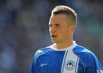 WIGAN, ENGLAND - APRIL 30: Tom Cleverley of Wigan looks on during the Barclays Premier League match between Wigan and Everton at the DW Stadium on April 30, 2011 in Wigan, England.  (Photo by Michael Regan/Getty Images)