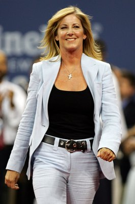 NEW YORK - AUGUST 28:  Chris Evert walks on stage during the opening ceremony on the first day of the US Open at the USTA Billie Jean King National Tennis Center in Flushing Meadows Corona Park on August 28, 2006 in the Flushing neighborhood of the Queens