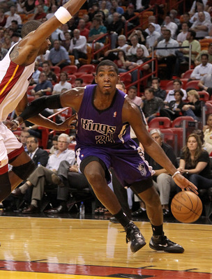 MIAMI, FL - FEBRUARY 22:  Jason Thompson #34 of the Sacramento Kings dribbles during a game against the Miami Heat at American Airlines Arena on February 22, 2011 in Miami, Florida. NOTE TO USER: User expressly acknowledges and agrees that, by downloading