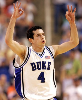 GREENSBORO, NC - MARCH 12:  J.J. Redick #4 of the Duke Blue Devils reacts after making a three-point basket against the Boston College Eagles during the finals of the Atlantic Coast Conference Men's Basketball Tournament on March 12, 2006 at the Greensbor