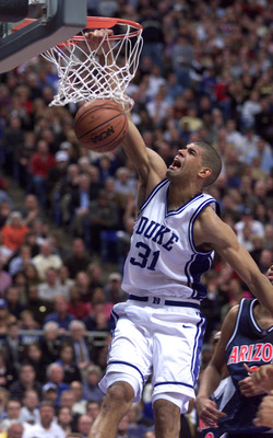 2 Apr 2001:  Shane Battier #31 of Duke dunks the basketball before defeating Arizona 82-72 in the NCAA National Championship Game of the Men's Final Four tournament at the Metrodome in Minneapolis, Minnesota.  DIGITAL IMAGE. Mandatory Credit: Brian Bahr/A