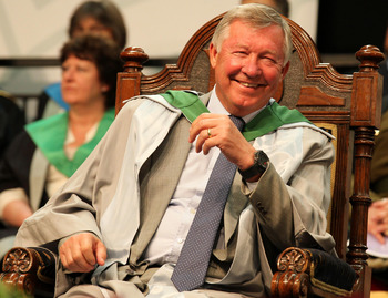 STIRLING, UNITED KINGDOM - JUNE 29:  Manchester United manager Sir Alex Ferguson is rewarded with an honorary doctorate during the graduation ceremony at the University of Stirling on June 29, 2011 in Stirling, Scotland.  The Honorary doctorate was presen