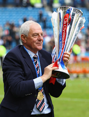 KILMARNOCK, SCOTLAND - MAY 15:  Walter Smith, manager of Rangers holds the Scottish Premier League trophy after winning the Clydesdale Bank Premier League at Rugby Park on May 15, 2011 in Kilmarnock, Scotland..  (Photo by Jeff J Mitchell/Getty Images)