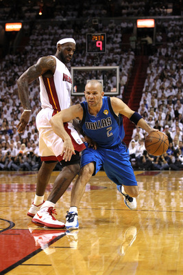 MIAMI, FL - JUNE 12:  Jason Kidd #2 of the Dallas Mavericks drives against LeBron James #6 of the Miami Heat in Game Six of the 2011 NBA Finals at American Airlines Arena on June 12, 2011 in Miami, Florida. The Mavericks won 105-95. NOTE TO USER: User exp