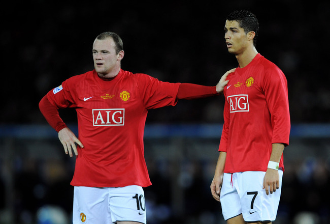 YOKOHAMA, JAPAN - DECEMBER 21:  Wayne Rooney of Manchester United with team-mate Cristiano Ronaldo during the FIFA Club World Cup Japan 2008 Final match between Manchester United and Liga De Quito at the International Stadium Yokohama on December 21, 2008