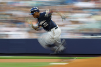 NEW YORK, NY - JUNE 29:  Nyjer Morgan #2 of the Milwaukee Brewers steals second base against the New York Yankees during their game on June 29, 2011 at Yankee Stadium in the Bronx borough of New York City.  (Photo by Al Bello/Getty Images)