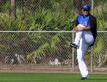 PORT ST. LUCIE, FL - FEBRUARY 17:  Pitcher Johan Santana #57 of the New York Metsworks out during spring training at Tradition Field on February 17, 2011 in Port St. Lucie, Florida.  (Photo by Marc Serota/Getty Images)