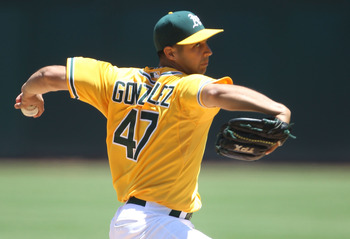 OAKLAND, CA - JUNE 16:  Gio Gonzalez #47 of the Oakland Athletics pitches against the Kansas City Royals at the Oakland-Alameda County Coliseum on June 16, 2011 in Oakland, California.  (Photo by Jed Jacobsohn/Getty Images)