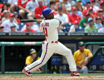 PHILADELPHIA - JUNE 26: Jimmy Rollins #11 of the Philadelphia Phillies watches his double in the bottom of the second inning against the Oakland Athletics at Citizens Bank Park on June 26, 2011 in Philadelphia, Pennsylvania. (Photo by Christopher Pasatier