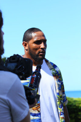 HONOLULU, HI - FEBRUARY 04:  In this handout photo provided by Pepsi MAX, Baltimore Ravens linebacker Ray Lewis on the set of the Funny Or Die Pepsi MAX video on February 4, 2011 in Honolulu, Hawaii.  (Photo by Pepsi MAX via Getty Images)