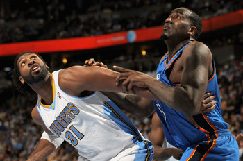 DENVER, CO - APRIL 25:  Nene Hilario #31 of the Denver Nuggets and Kendrick Perkins #5 of the Oklahoma City Thunder battle for rebounding position in Game Four of the Western Conference Quarterfinals in the 2011 NBA Playoffs on April 24, 2011 at the Pepsi