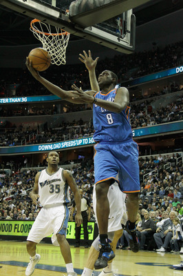 WASHINGTON, DC - MARCH 14:  Nazr Mohammed #8 of the Oklahoma City Thunder puts up a shot against the Washington Wizards during the first half at the Verizon Center on March 14, 2011 in Washington, DC. NOTE TO USER: User expressly acknowledges and agrees t