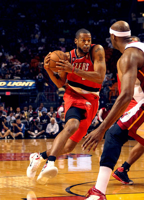 MIAMI, FL - MARCH 08:  Marcus Camby #23 of the Portland Trail Blazers drives to the basket during a game against the Miami Heat at American Airlines Arena on March 8, 2011 in Miami, Florida. NOTE TO USER: User expressly acknowledges and agrees that, by do