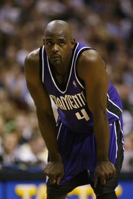 DALLAS - MAY 6:  Chris Webber #4 of the Sacramento Kings rests in Game one of the Western Conference Semifinals against the Dallas Mavericks during the 2003 NBA Playoffs at American Airlines Center on May 6, 2003 in Dallas, Texas.  The Kings won 124-113.