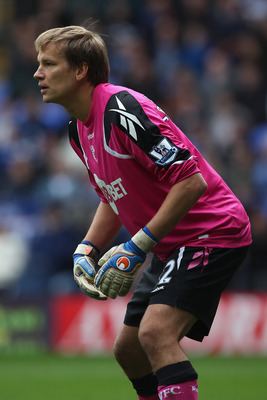 BOLTON, ENGLAND - MAY 22:  Jussi Jaaskelainen of Bolton Wanderers in action during the Barclays Premier League match between  Bolton Wanderers and Manchester City at the Reebok Stadium on May 22, 2011 in Bolton, England.  (Photo by Michael Steele/Getty Im