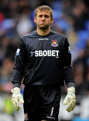 WIGAN, ENGLAND - MAY 15:  Robert Green of West Ham United looks on during the Barclays Premier League match between Wigan Athletic and West Ham United at the DW Stadium on May 15, 2011 in Wigan, England.  (Photo by Clive Mason/Getty Images)