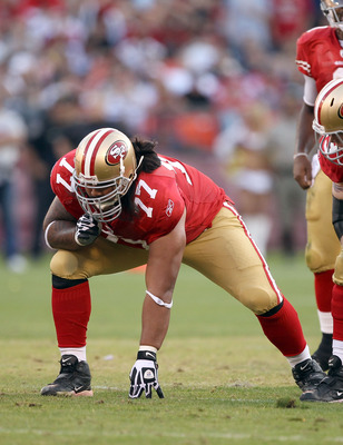 SAN FRANCISCO - NOVEMBER 14:  Mike Iupati #77 of the San Francisco 49ers in action against the St. Louis Rams at Candlestick Park on November 14, 2010 in San Francisco, California.  (Photo by Ezra Shaw/Getty Images)
