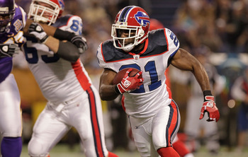 MINNEAPOLIS, MN - DECEMBER 05: C.J. Spiller #21 of the Buffalo Bills rushes against the Minnesota Vikings at the Mall of America Field at the Hubert H. Humphrey Metrodome on December 5, 2010 in Minneapolis, Minnesota.  (Photo by Nick Laham/Getty Images)